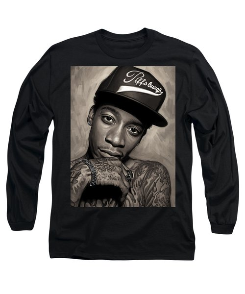 Long Sleeve T-Shirt featuring the painting Wiz Khalifa Artwork  by Sheraz A
