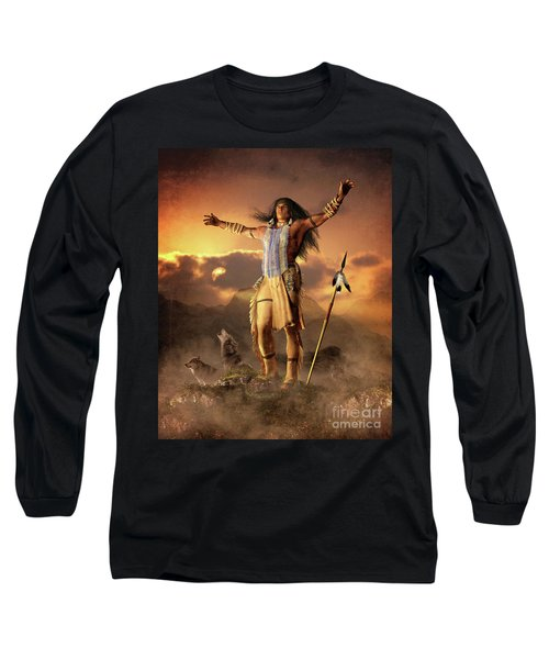 Long Sleeve T-Shirt featuring the mixed media Wolf Clan by Shanina Conway