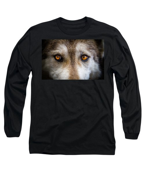 Long Sleeve T-Shirt featuring the photograph Wolf Eyes by Teri Virbickis