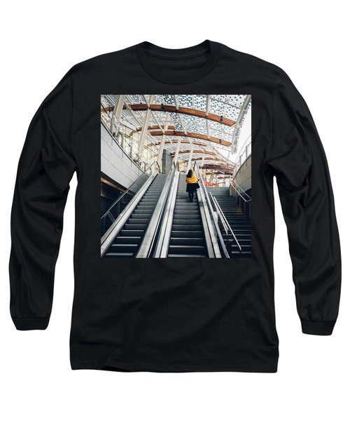 Woman Going Up Escalator In Milan, Italy Long Sleeve T-Shirt