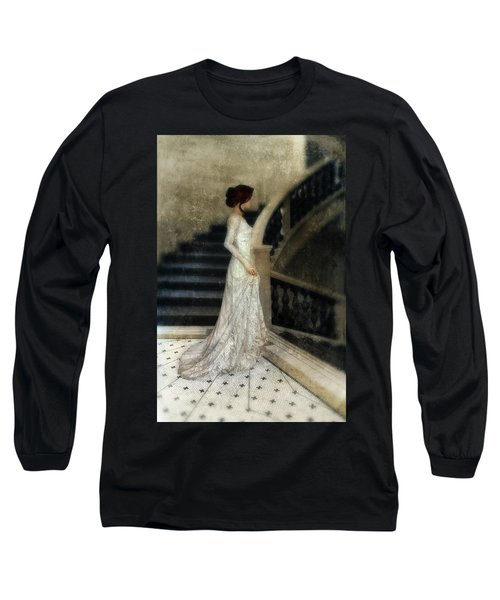 Woman In Lace Gown On Staircase Long Sleeve T-Shirt by Jill Battaglia