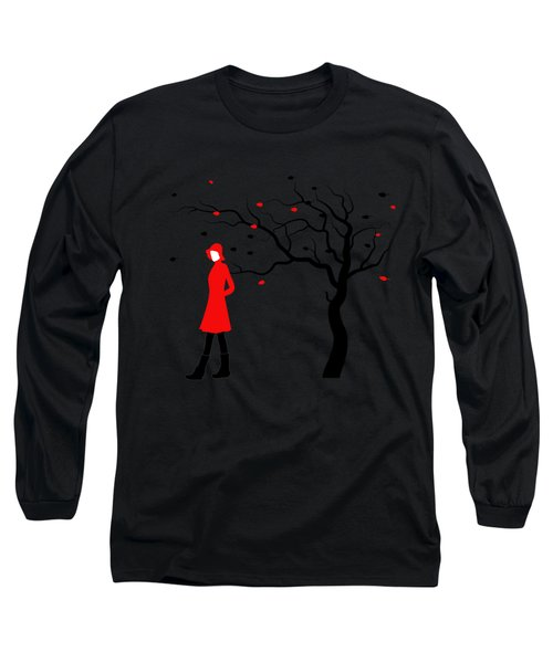 Woman In Red Hat And Trench Coat Walking In Blustery Autumn Rain Long Sleeve T-Shirt