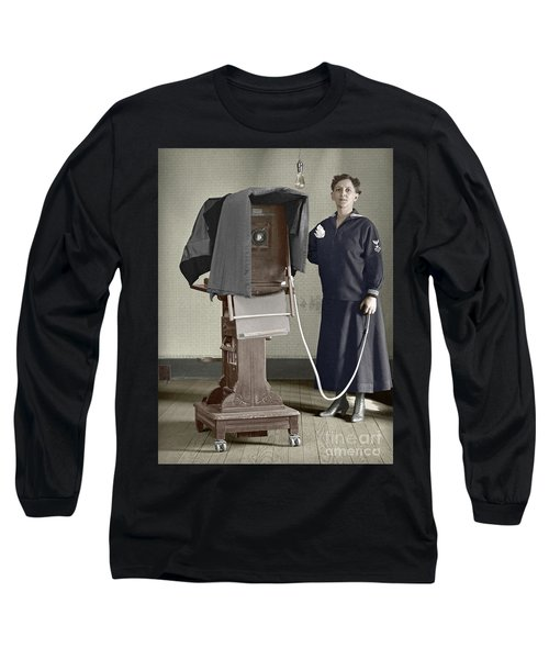 Long Sleeve T-Shirt featuring the photograph Woman Photographer With Large Camera 1900 by Martin Konopacki Restoration