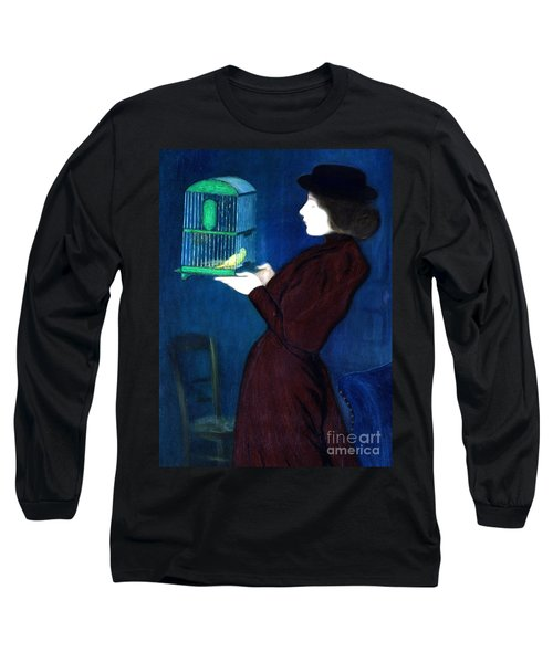 Woman With A Bird Cage  Detail Long Sleeve T-Shirt