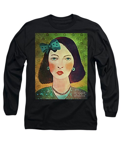 Woman With Blue Hair Bow Long Sleeve T-Shirt by Alexis Rotella