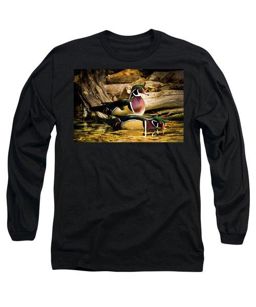 Wood Ducks In Autumn Waters Long Sleeve T-Shirt