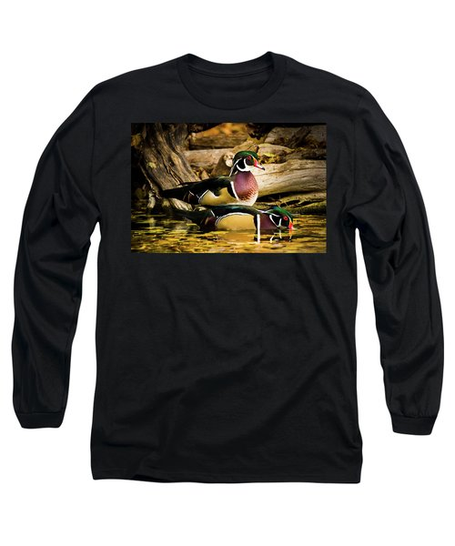 Wood Ducks In Autumn Waters Long Sleeve T-Shirt
