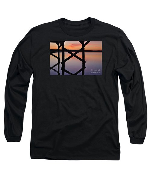 Wooden Bridge Silhouette At Dusk Long Sleeve T-Shirt by Angelo DeVal