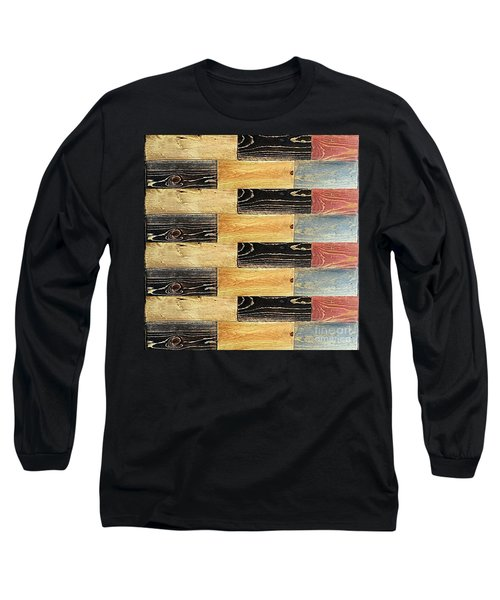 Woodgrain Art Abstract Golds Black Blues Long Sleeve T-Shirt by Scott D Van Osdol