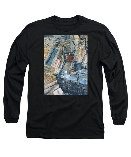 Working To Abstraction Long Sleeve T-Shirt by Connie Schaertl