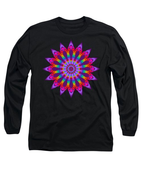 Woven Rainbow Fractal Flower Long Sleeve T-Shirt