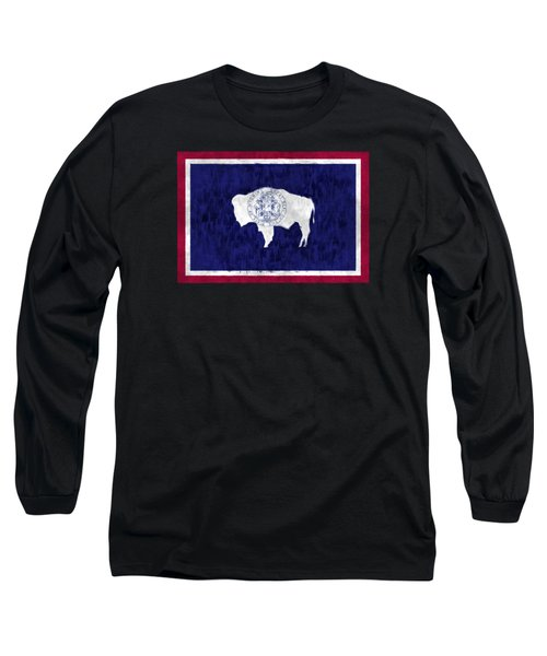 Wyoming Map Art With Flag Design Long Sleeve T-Shirt