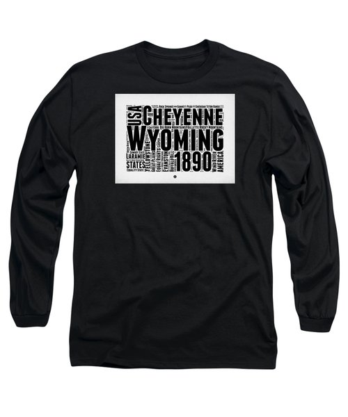 Wyoming Word Cloud Map 2 Long Sleeve T-Shirt by Naxart Studio