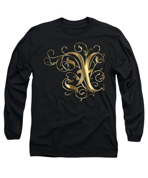 X Golden Ornamental Letter Typography Long Sleeve T-Shirt