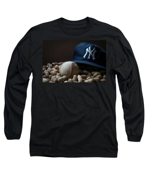 Yankee Cap Baseball And Peanuts Long Sleeve T-Shirt