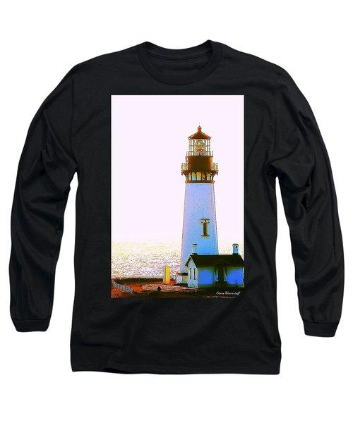 Yaquina Head Lighthouse Long Sleeve T-Shirt by Steve Warnstaff