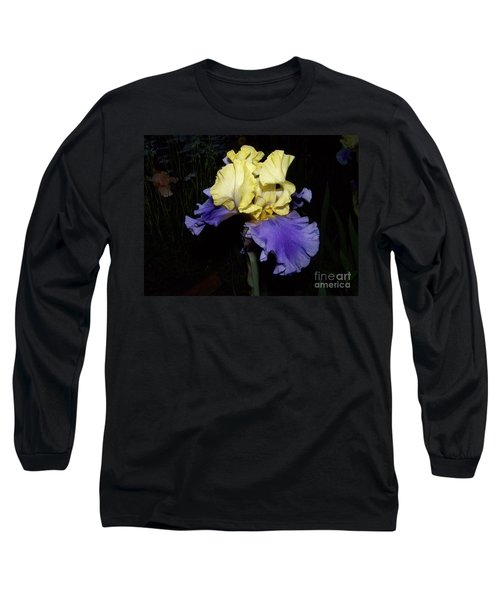 Yellow And Blue Iris Long Sleeve T-Shirt by Kathy McClure