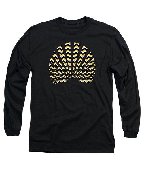 Yellow And Black Chevron Pattern Long Sleeve T-Shirt