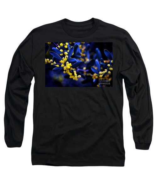 Yellow Bursts In Blue Field Long Sleeve T-Shirt