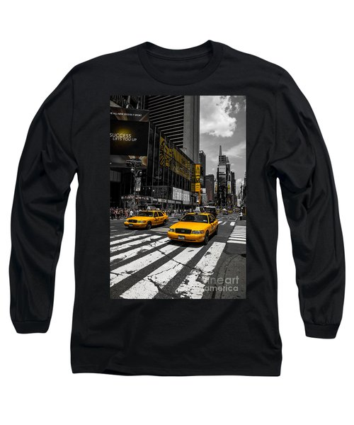 Yellow Cabs Cruisin On The Times Square  Long Sleeve T-Shirt