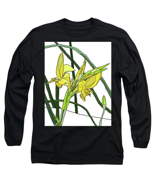 Yellow Canna Lilies Long Sleeve T-Shirt by Jamie Downs