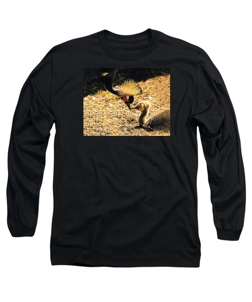 Yellow Crowned Crane Feeding Her Chick Long Sleeve T-Shirt