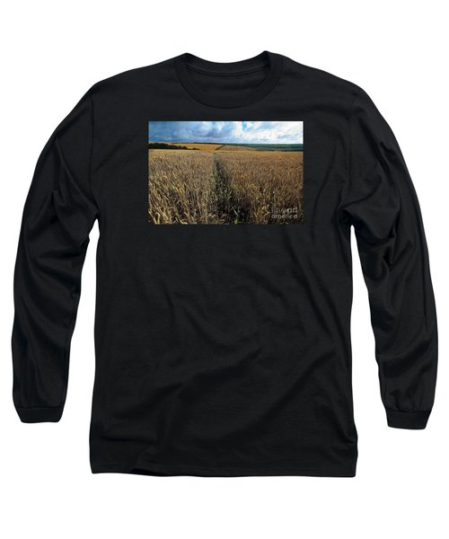 Long Sleeve T-Shirt featuring the photograph Yellow Filds And Fluffy Clouds by Gary Bridger