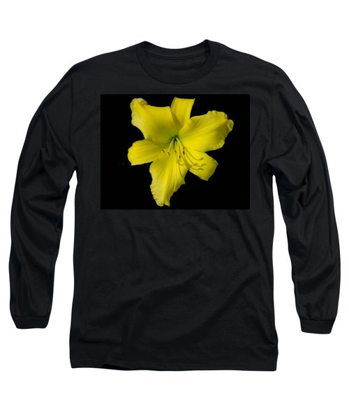 Yellow Lily Flower Black Background Long Sleeve T-Shirt