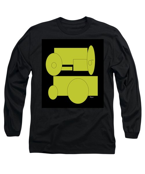 Long Sleeve T-Shirt featuring the drawing Yellow On Black by Cathy Harper
