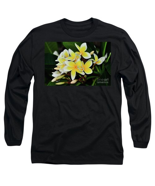 Long Sleeve T-Shirt featuring the photograph Yellow Plumeria By Kaye Menner by Kaye Menner