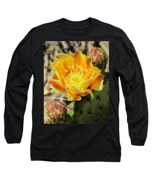 Yellow Prickly Pear Cactus Long Sleeve T-Shirt