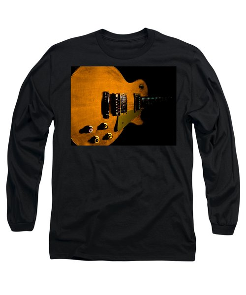 Long Sleeve T-Shirt featuring the digital art Yellow Relic Guitar Hover Series by Guitar Wacky