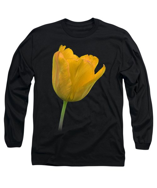 Yellow Tulip Open On Black Long Sleeve T-Shirt by Gill Billington