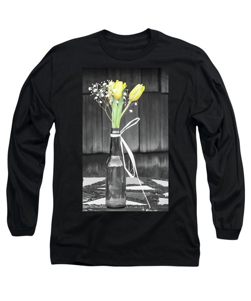 Yellow Tulips In Glass Bottle Long Sleeve T-Shirt by Terry DeLuco
