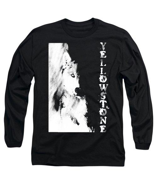Yellowstone Wolf T-shirt Long Sleeve T-Shirt by Max Waugh