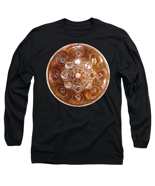 Long Sleeve T-Shirt featuring the sculpture Yesirah Copper Lightmandala by Robert Thalmeier