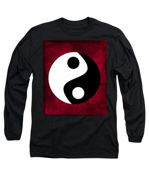 Yin And Yang - Dark Red Long Sleeve T-Shirt
