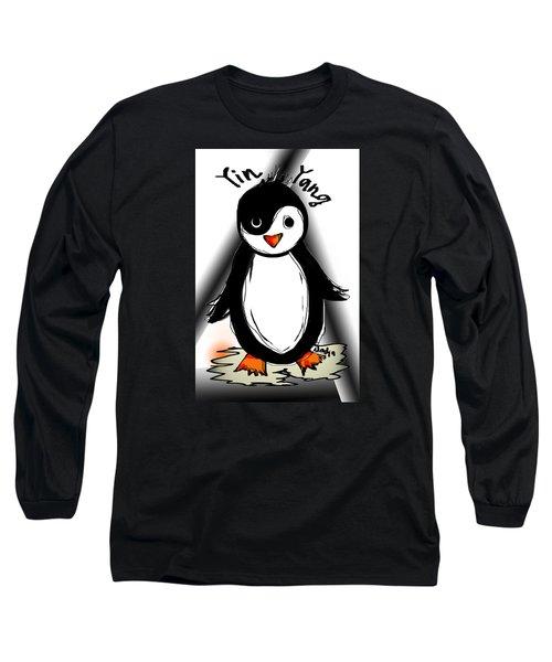 Long Sleeve T-Shirt featuring the digital art Yin Yang Penguin  by Sladjana Lazarevic