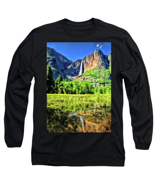 Long Sleeve T-Shirt featuring the painting Yosemite National Park Bridalveil Fall by Christopher Arndt