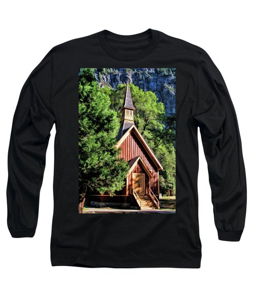 Long Sleeve T-Shirt featuring the painting Yosemite National Park Valley Chapel by Christopher Arndt