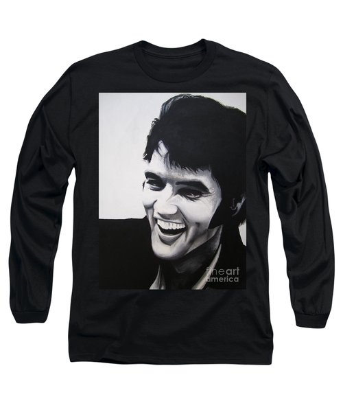 Long Sleeve T-Shirt featuring the painting Young Elvis by Ashley Price