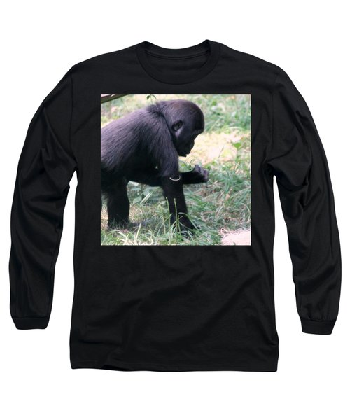 Young Gorilla Long Sleeve T-Shirt by Laurel Talabere
