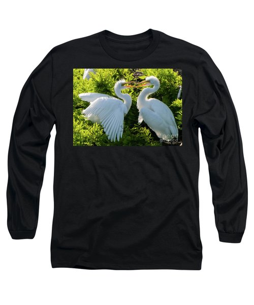 Young Great Egrets Playing Long Sleeve T-Shirt