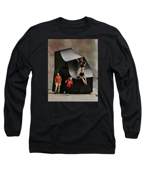 Young Skaters Around A Sculpture Long Sleeve T-Shirt by Pedro L Gili
