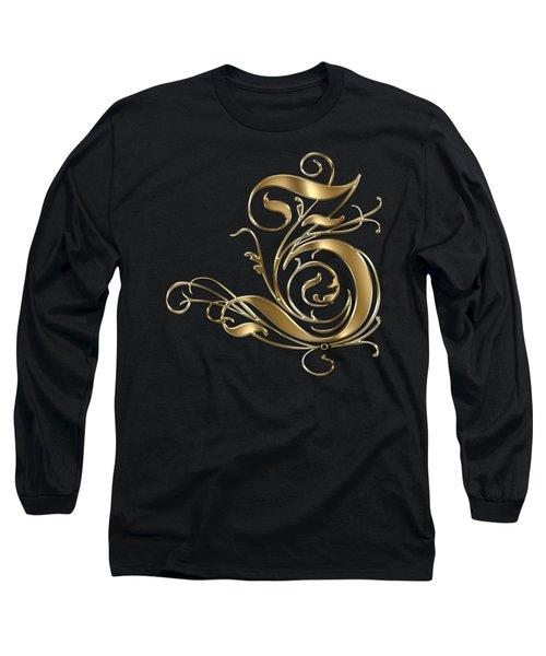 Z Golden Ornamental Letter Typography Long Sleeve T-Shirt