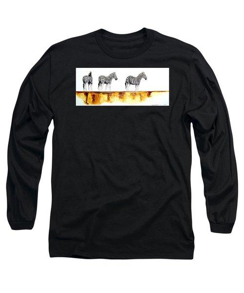Zebra Trio - Original Artwork Long Sleeve T-Shirt