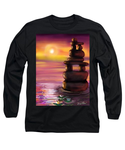 Long Sleeve T-Shirt featuring the digital art Zen Sunset by Diana Riukas