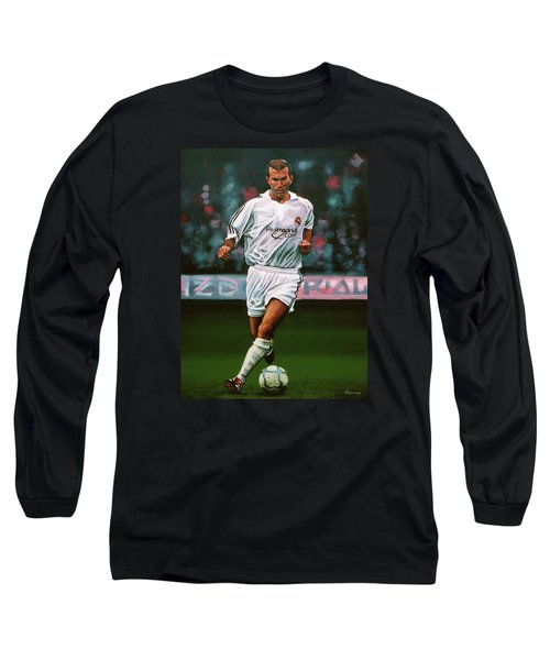 Zidane At Real Madrid Painting Long Sleeve T-Shirt by Paul Meijering
