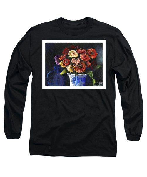 Long Sleeve T-Shirt featuring the painting Zinnias by Marlene Book