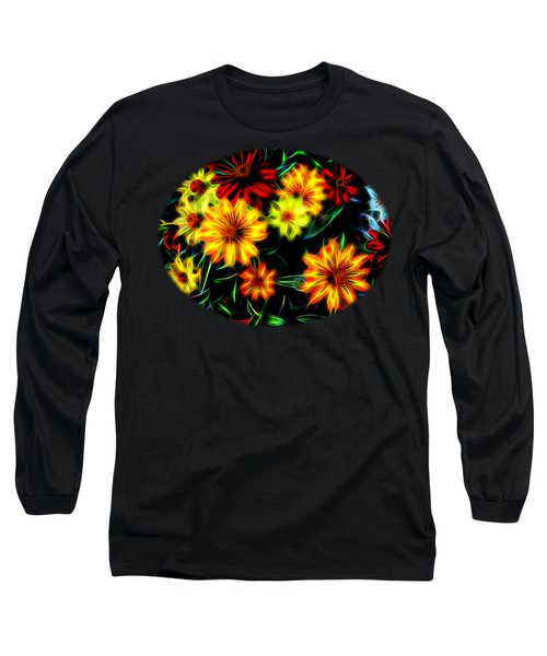 Zinnias With Zest Long Sleeve T-Shirt by Nick Kloepping